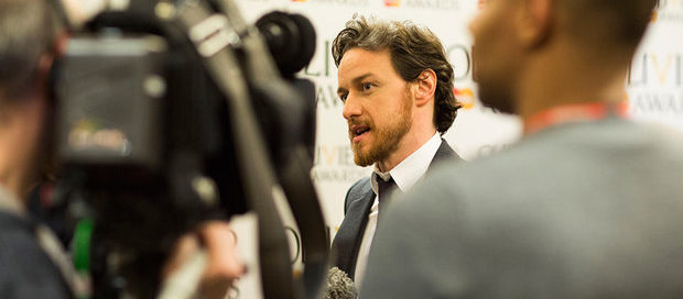James McAvoy in the press room at the 2015 Oliviers launch: From Official London Theatre