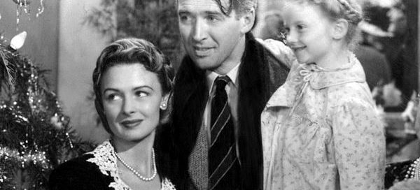 James Stewart and Donna Reed starred as George and Mary Bailey in Frank Capra's 1946 film classic It's a Wonderful Life - with Karolyn Grimes as their daughter Zuzu.