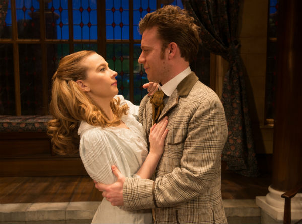 Imogen Doel as Cecily and Philip Cumbus as Algernon in The Importance of Being Earnest at the Vaudeville Theatre, London's West End, July 2015