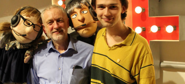 "Jeremy Corbyn with Rapunzel's ""Prince Corbyn"", played by Alex Hope, and Fairy Jane and Fairy John"