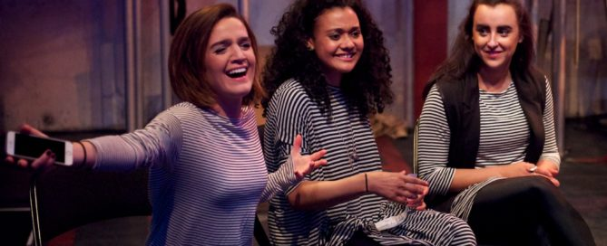 Cast Lauren Samuels, Natasha Cottriall and Maimuna Memon at the post-show Q&A