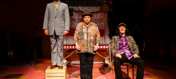 Joseph Alessi, Joanna Brookes and Samuel James in Monster Raving Loony. © Steve Tanner