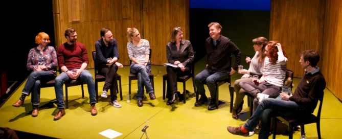 Terri Paddock with Sideways author Rex Pickett and the cast at last night's post-show Q&A