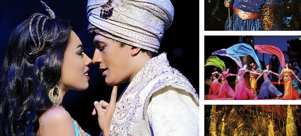 Jade Ewen, Dean John-Wilson, Trevor Dion Nicholas and the cast of Aladdin. © Disney