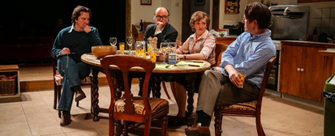 "Paul Chahidi, Roger Allam, Shirley Williams and Tom Goodman-Hill play the ""Gang of Four"" in Limehouse. © Jack Sain"