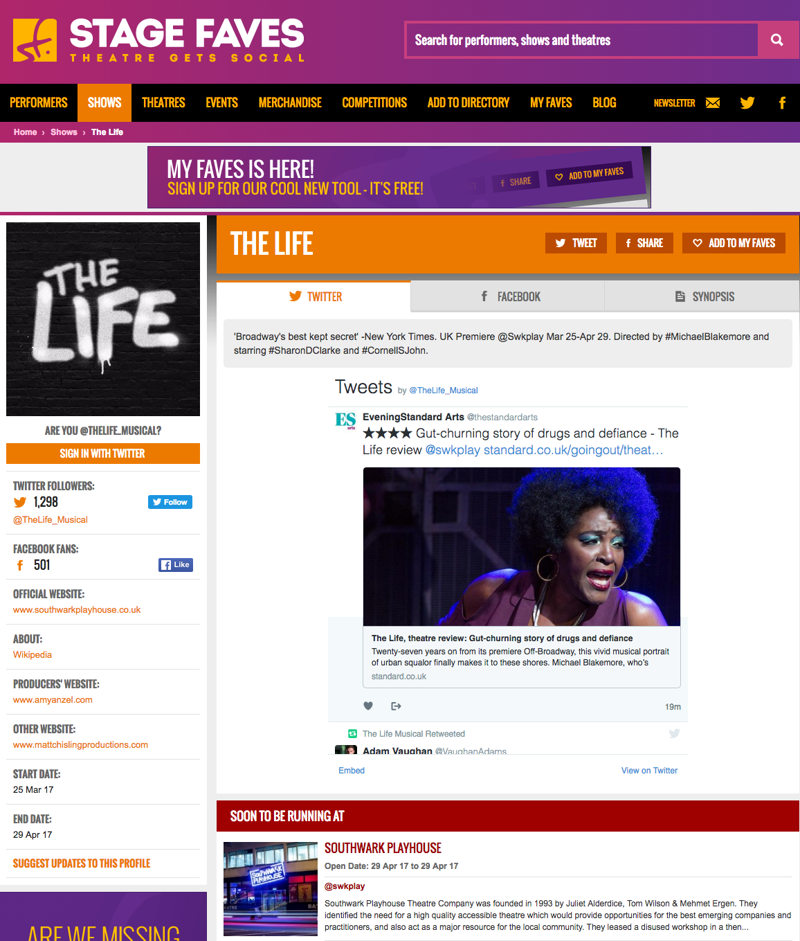 Get all social media for all London musicals - including THE LIFE - & their casts on www.stagefaves.com