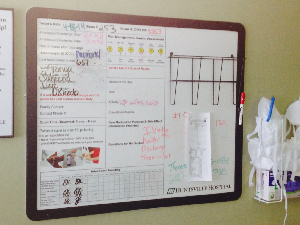 Dad's hospital board on the day he was discharged