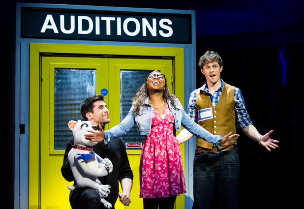 Simon Lipkin, Cynthia Erivo and Alan Morrissey in I Can't Sing! The X Factor Musical at the London Palladium