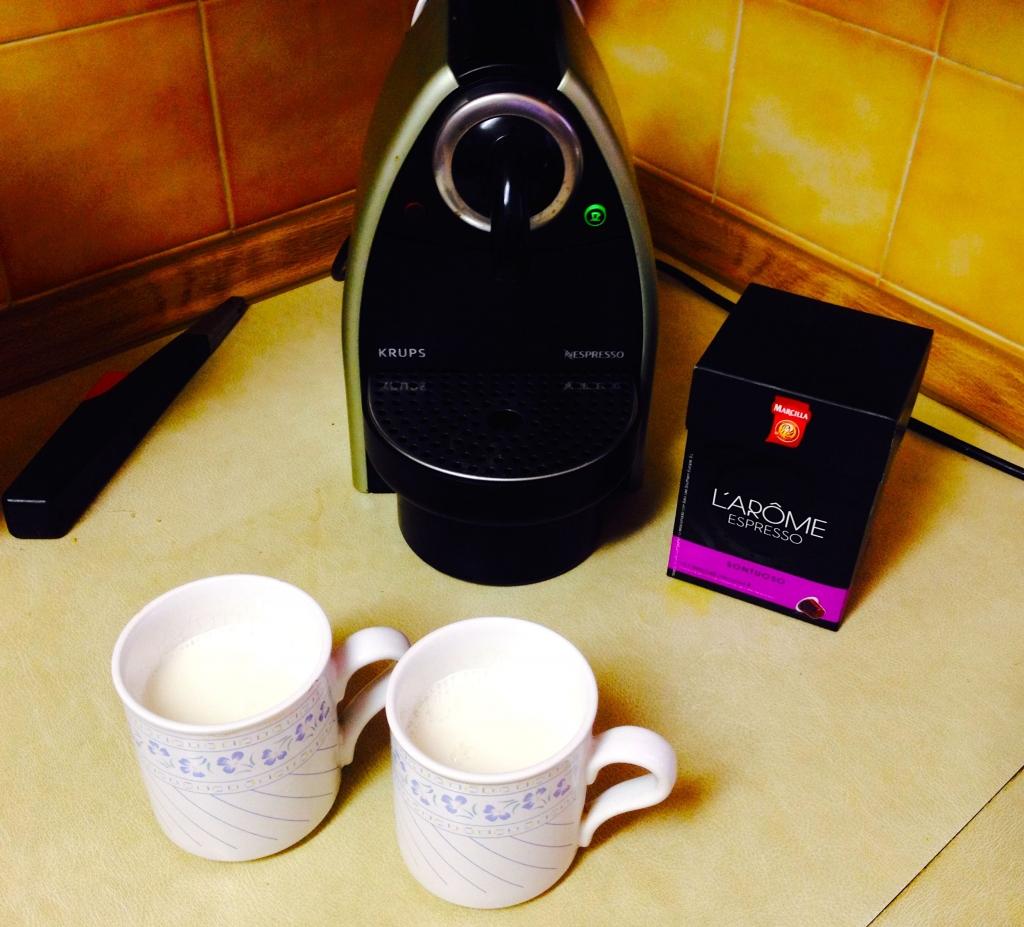 Fill your mug three-quarters full for a milkier Nespresso latte