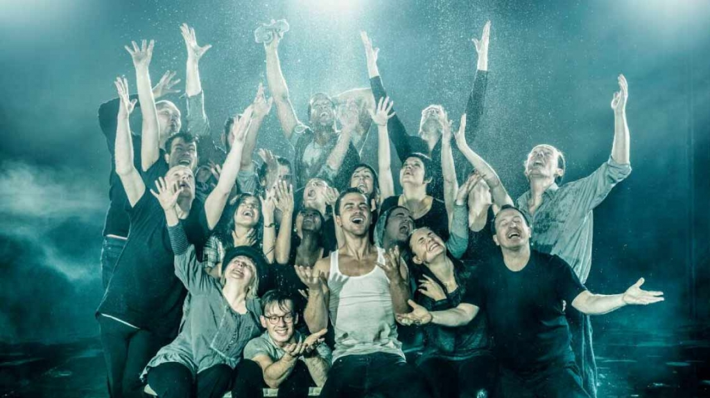Richard Fleeshman leads the company to revolution in Urinetown at the St James Theatre, London