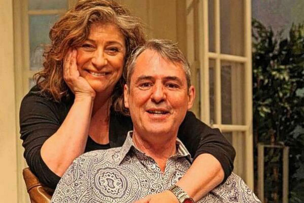 Caroline Quentin and Neil Morrissey on the set of Relative Values at the West End's Harold Pinter Theatre, London