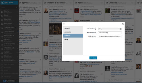 Be sure to configure your Tweetdeck dashboard for your new short domain