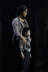 Eva Noblezada as Kim with William Dao as Tam in Miss Saigon. Photo by Michael Le Poer Trench