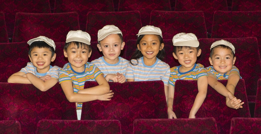 Six children share the role of Tam in Miss Saigon: William Dao, Munkh-Ireedui Batsaikhan, Connor Mason, CK Tangonan, James Quek, Zen Fordyce. Photo: Matt Crocket