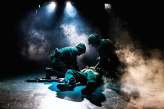 Marines on the battlefield in Dogfight at Southwark Playhouse, London. August 2014