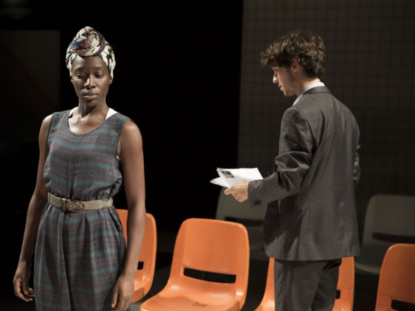 Ony Uhiara and Nic Jackman in Eye of a Needle at Southwark Playhouse, London, September 2014