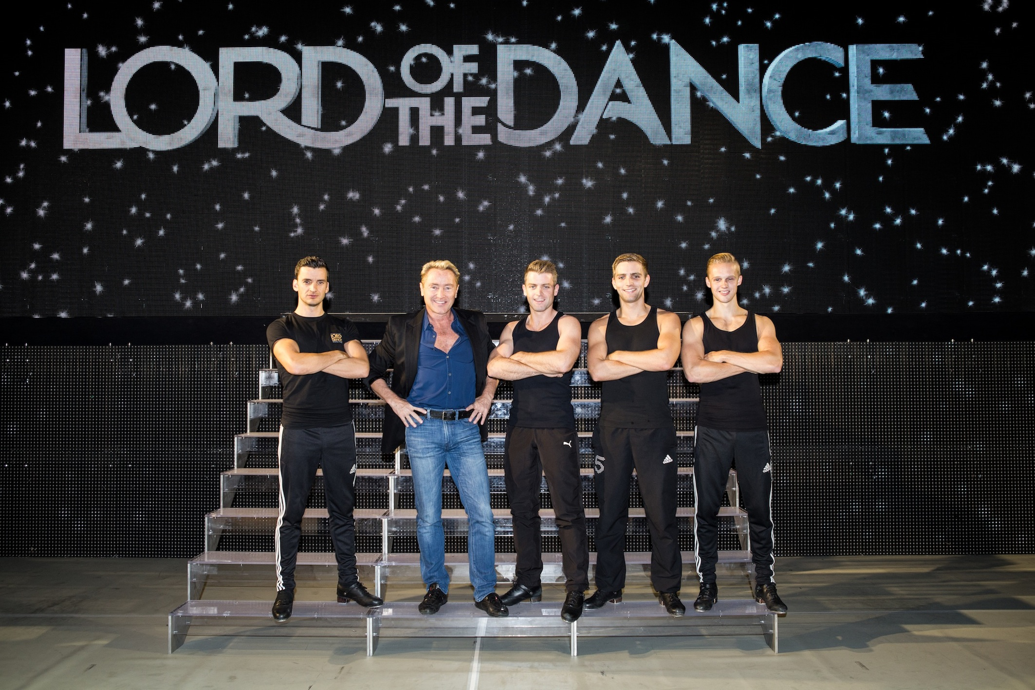 Michael Flatley with young lords of the dance Tom Cunningham, James Keegan, Morgan Comer and Matt Smith at the London Palladium