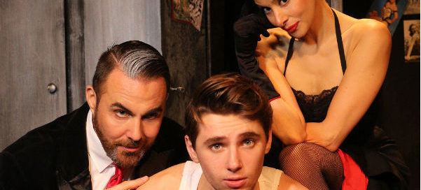 Old pros Jonathan D Ellis and Poppy Tierney play the devilish Mr Applegate and his homewrecking sidekick with newcomer Alexander Lodge as young Joe Hardy in Damn Yankees at the Landor Theatre