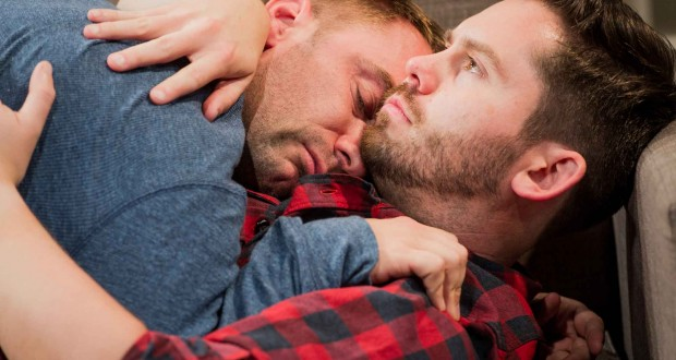 Charlie Condou and Martin Delaney in Next Fall at Southwark Playhouse, London