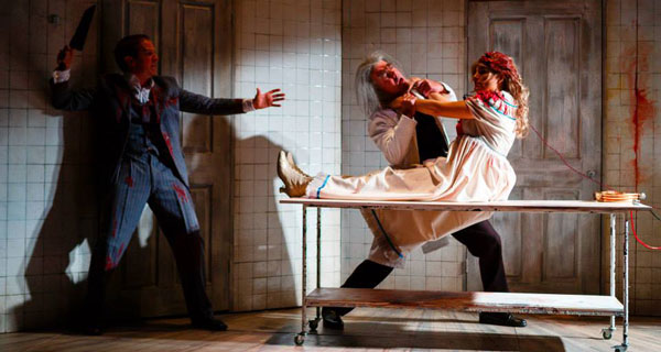 Paul Chequer, Robert Portal and Emily Raymond in Grand Guignol at Southwark Playhouse, London, 2014