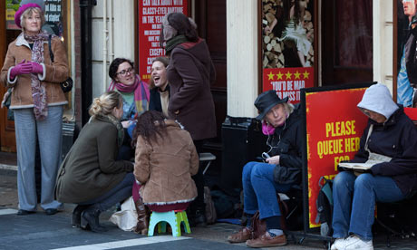 Fans camped out for tickets to see Mark Rylance in Jerusalem in the West End in 2010 and 2011