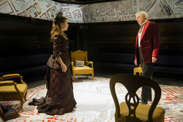 Rebecca Collingwood and Patrick Drury in Widowers' Houses at the Orange Tree Theatre, London, December 2014