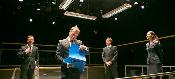 Sam Troughton, Neil Stuke, Adam James and Eleanor Matsuura in Mike Bartlett's Bull at the Young Vic Theatre, London, January 2015