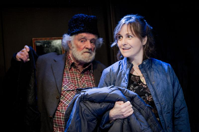 Patrick Godfrey and Amanda Root in Donkey Heart at Trafalgar Studios, London, January 2015