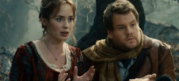 James Corden and Emily Blunt play the Baker and his Wife in Into the Woods