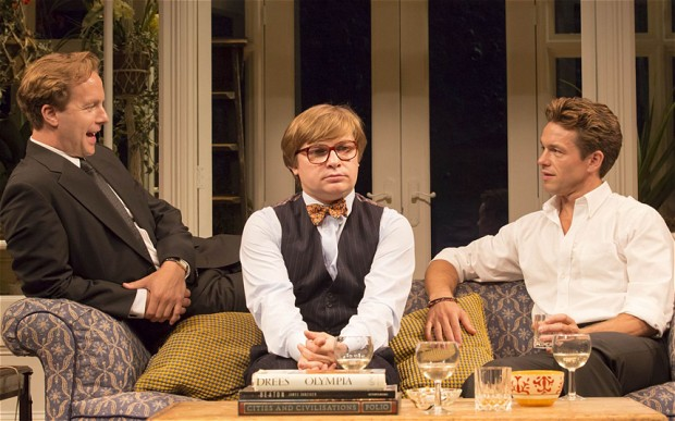 Geoffrey Streatfeild, Jonathan Broadbent and Julian Ovenden in My Night with Reg, at the Donmar Warehouse in 2014, transferring this month to the West End's Apollo Theatre