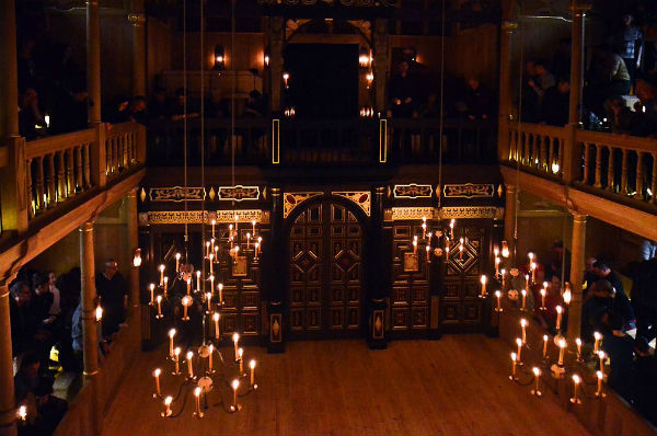 The candelit Sam Wanamaker Playhouse at Shakespeare's Globe opened its doors in January 2014
