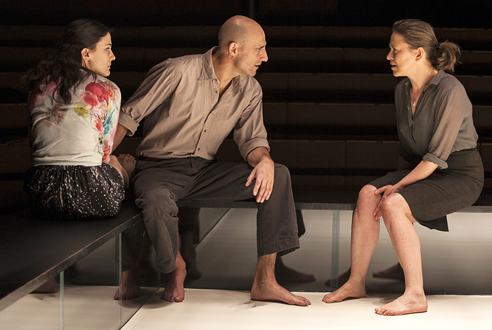 Phoebe Fox, Mark Strong and Nicola Walker, at the Young Vic in 2014, now transferring this month to the West End's Wyndham's