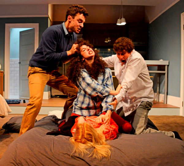 Ilan Goodman, Jenna Augen, Joe Coen and Gina Bramhill in Joshua Harmon's Bad Jews at the St James Theatre, London