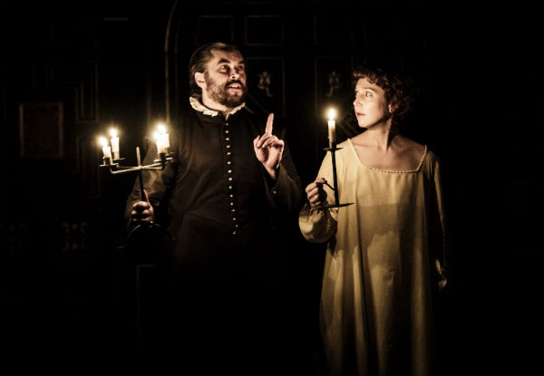 Trystan Gravelle and Hattie Morahan in The Changeling at the Globe's indoor Sam Wanamaker Playhouse