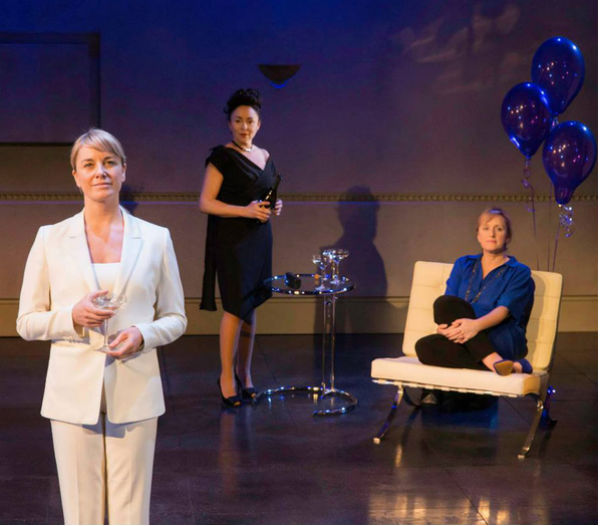 Tamzin Outhwaite, Samantha Spiro and Jenna Russell in Amelia Bullmore's Di and Viv and Rose at the West End's Vaudeville Theatre, London