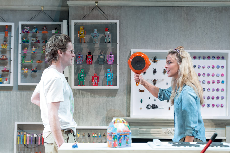 Shaun Evans, Miranda Raison and various collectables in Hello/Goodbye at Hampstead Theatre, London, February 2015