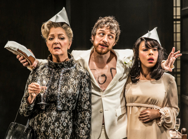 Serena Evans, James McAvoy and Kathryn Drysdale in The Ruling Class in director Jamie Lloyd's Trafalgar Transformed Season at Traflagar Studios, London's West End