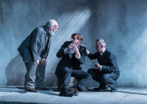 Pip Donaghy, Martin Hutson and Mike Grady in Taken at Midnight at the Theatre Royal Haymarket, London