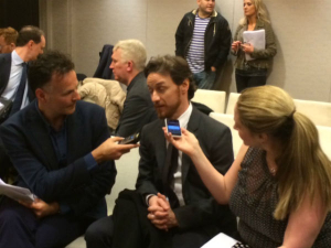 Best Actor nominee James McAvoy was leapt upon in the press room