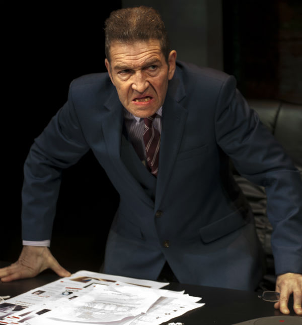 Greg Hicks as a demented tabloid editor in Mark Jagasia's Clarion at the Arcola Theatre. © Simon Annand