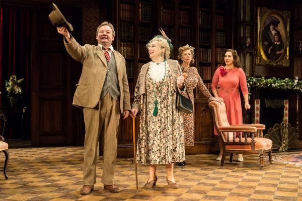 James Dreyfus, Amanda Boxer, Maureen Lipman and Ingrid Oliver in Harvey at the Theatre Royal Haymarket, London, 2015.