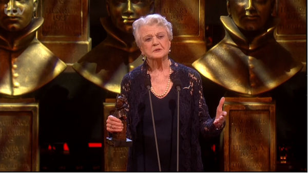 Angela Lansbury collects her first-ever Olivier: Best Supporting Actress for Blithe Spirit