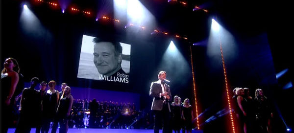 Hollywood's Robin Williams was amongst the late stars paid tribute to at the 2015 Oliviers on 12 April at London's Royal Opera House