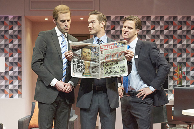 Tom Davey, Sean Brown and Dugald Bruce-Lockhart in Three Lions at St James Theatre, London, 2015.