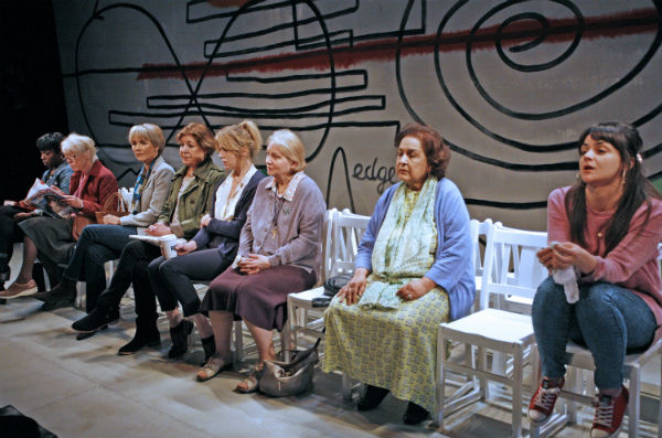 The cast of As Good a Time as Any at London's Print Room: Sharlene Whyte, Eileen Pollock, Lucy Fleming, Roberta Taylor, Olivia Llewellyn, Tessa Bell-Briggs, Indira Joshi, Hayley Squires. © Nobby Clark