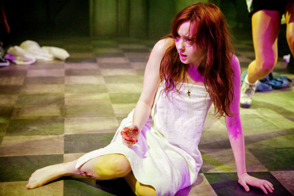 Getting her period is just the star of the changes for Carrie White, played by Evelyn Hoskins at Southwark Playhouse.