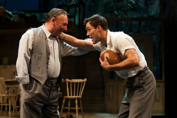 Antony Sher and Alex Hassell as Willy Loman and his drifter son Biff in Arthur Miller's Death of a Salesman for the RSC