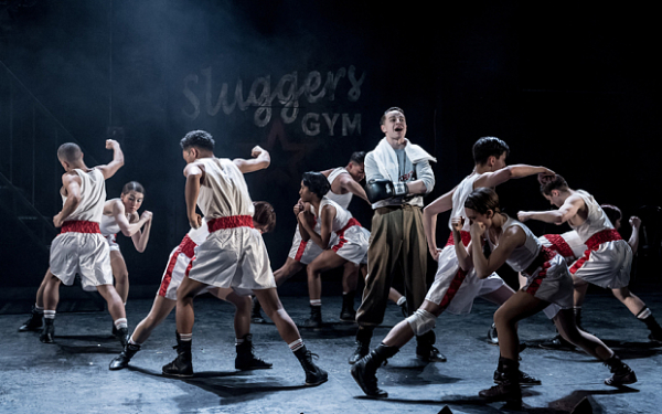 The talented young company are put through their drills by choreographer Drew McOnie in Bugsy Malone at London's Lyric Hammersmith.