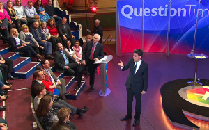 Ed Miliband, along with David Cameron and Nick Clegg, faced aggressive questions from the public on Question Time