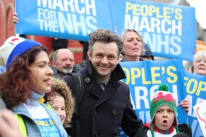 Michael Sheen spoke on St David's Day 2015 at an NHS rally in Tredegar, Wales, birthplace of NHS founder Aneurin Bevan
